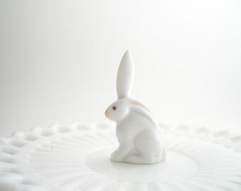 Miniature Herend Bunny Rabbit One Ear Up White Porcelain Bunny
