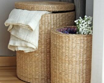 Special Offer: Handwoven Round Storage Baskets/wedding Gift Laundry Basket/straw  Basket/Footstool/Wholesales Bulk/Utility Basket