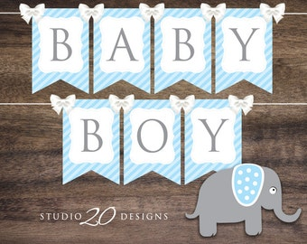 Instant Download Blue Elephant Baby Shower Banner, Printable Blue Baby Boy Bunting Banner Flags, Boy Blue Elephant Banner #22C