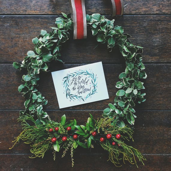 Christmas card, joy to the world the king has come, Christian Christmas card, scripture card, traditional Christmas card