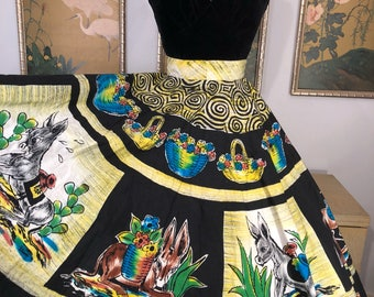 1950s Hand Painted Mexican Circle Skirt by Artegreen -- Darling Burros and Mexican Pottery Painted in Vibrant Colors!