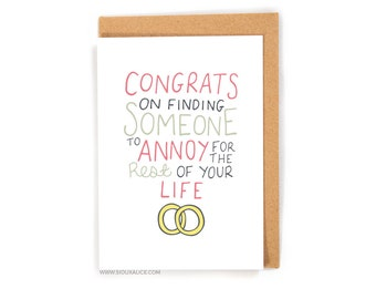 Funny wedding card, congratulations love card wedding, gift engagement marriage greetings card best friend card newly weds annoy each other