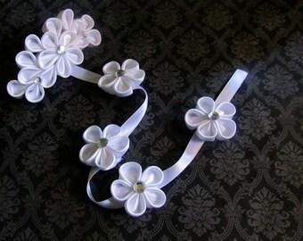 White Kanzashi Flower Braid Barrette