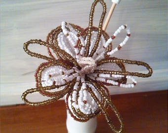 BEADS. White and Brown flower. Height 26cm 9 cm.  Flower back high low unique.5 petals and 10 petals Creation 2017. GIFT.