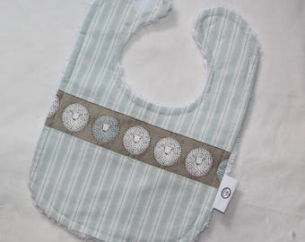 Tan Sheep and Ticking Stripe Chenille Boutique Bib