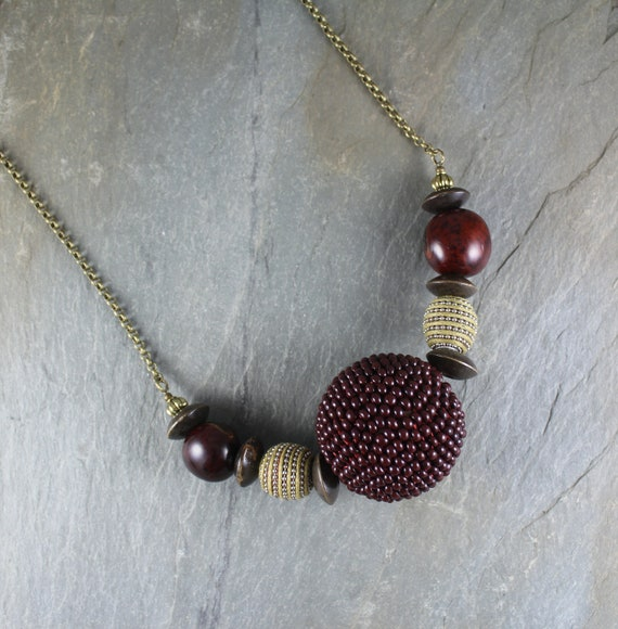 Boho Chic ~ Rustic Romantic ~ Large Hand Beaded Bead necklace ~ Artisan Handcrafted