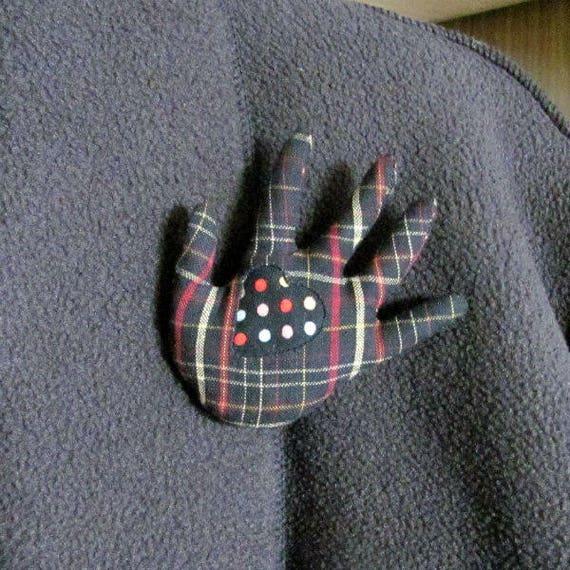 Polka Dotty Heart in Plaid Hand Brooch ~ Hamsa Pin ~ Ready to Ship