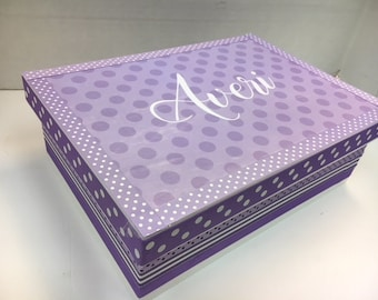 Girl's Keepsake Box  Personalized Shades of Lavender, Polka dots, Stripes
