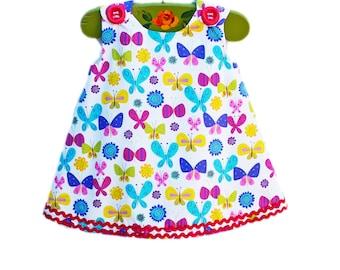 Butterfly - Girls Aline Dress - Spring Dress - Birthday Dress - Handmade - Cotton Dress -  KK Children Designs - Custom Design - 3M to 12M