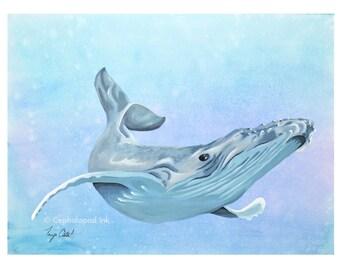 Humpback Whale Art Print 8x10 Watercolor