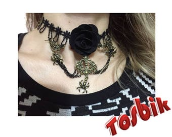 Black Lace Necklace, Gothic Necklace, Vintage Jewelry, Necklace model 2, for Gift, FREE SHIPPING by Tosbik