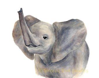 Baby Elephant Print, Watercolour Elephant, Cute Elephant Art, Nursery Art, Animal Illustration, Art for Home, African Safari Elephant