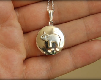 Silver Elephant Locket Necklace