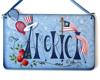 America Sign with Flag,  Handpainted Wood Plaque, Hand Painted Prim Americana Decor, Wall Art, Tole Decorative Painting, B6