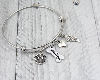 Dog Memorial Bracelet - Pet Loss Gift - Dog Remembrance Jewelry - Pet Memorial Jewelry - Dog Memorial Jewelry - Custom Pet Memorial Bracelet