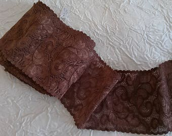 Mechanical stretch lace, high fashion, a floral, Brown-Brown patterns.  Width 9 cm.