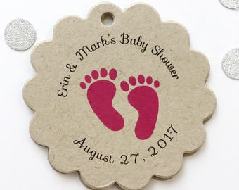 Baby Shower Tags, Baby Feet Shower Favor Tags, Baby Footprint Shower Hang Tags  (SC-230-KR)