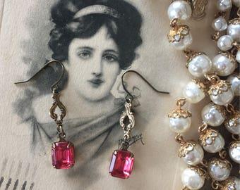 Pink dangle drop filigree earrings, rhinestone earrings, hot pink earrings, elegant earrings, sparkly earrings, fuchsia earrings