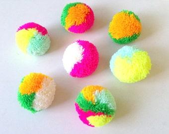 Party Yarn Pom Poms, Assorted mixed color, handmade, pom pom, bright pink, green, white, yellowish orange, neon yellow, yellow, 5 balls