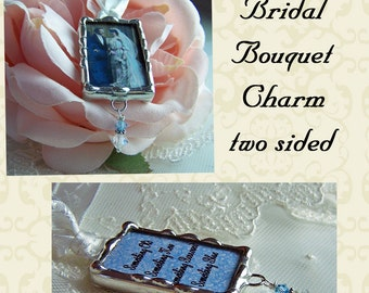 Wedding bouquet Charm, Photo Memorial Charm,  Hand Soldered Frame, Custom Made Personalized For Bride