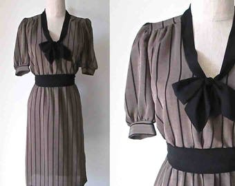 Vintage 1980's secretary dress TAUPE STRIPED ascot neck - S