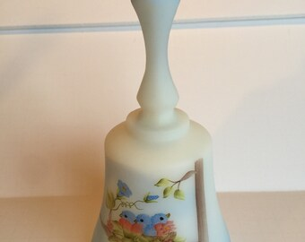 Vintage Fenton Mother's Day 1990 Frosted Bell with Blue Ombre and Hand Painted Birds in Nest