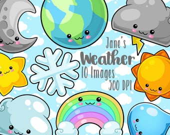 Kawaii Space and Weather Clipart - Kawaii Download - Instant Download - Clouds Stars Rainbow and Earth Items