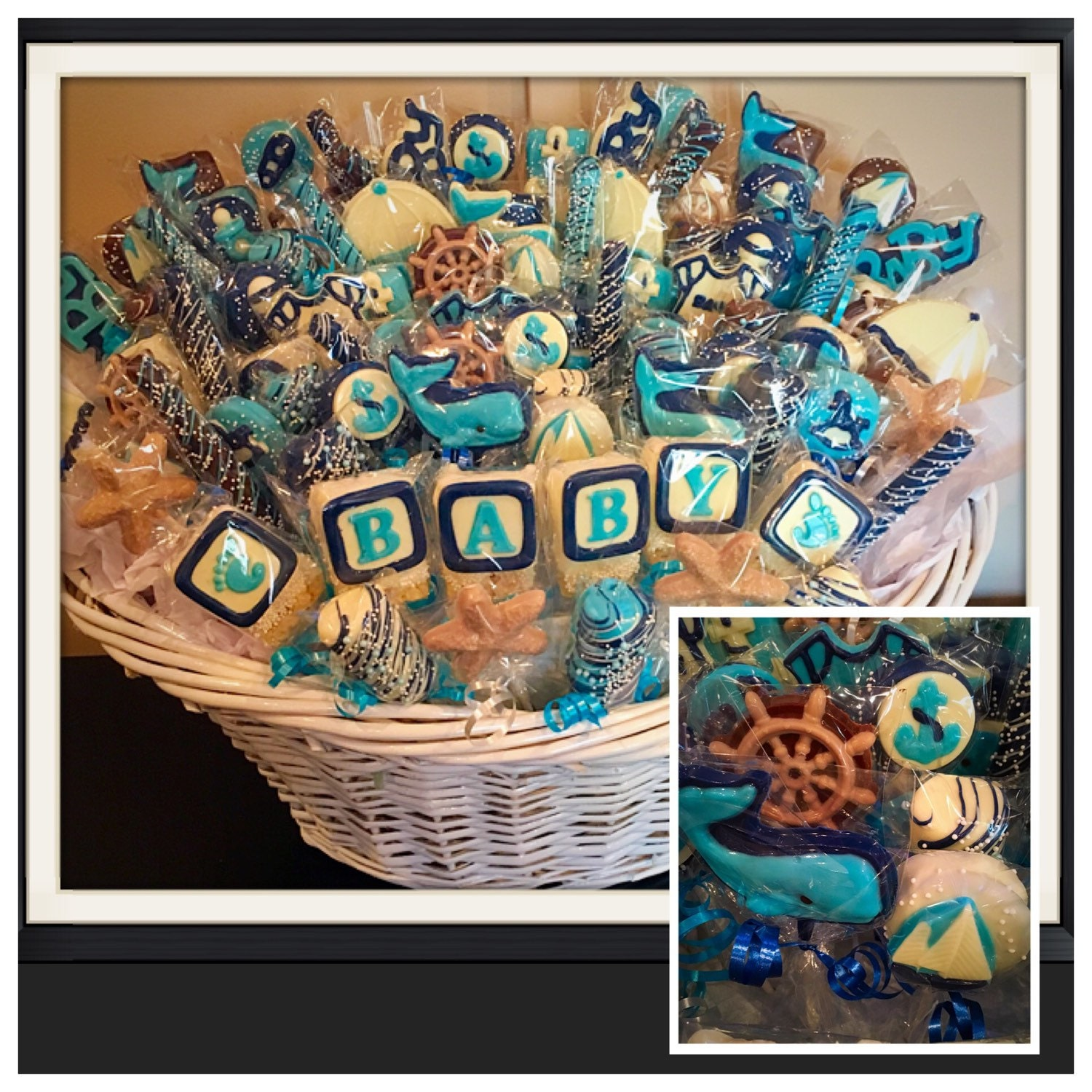 Nautical baby baby nautical themes shower chocolate basket zoom negle Image collections