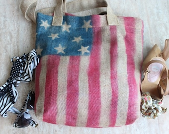 Very cute  american flag bag  made from  burlap fabric  great accessory for your outfit