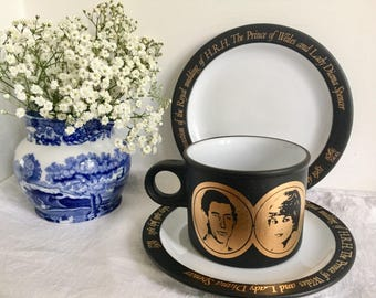 Commemorative Hornsea cup and saucer and plate trio, celebrating the wedding of lady Diana and Prince Charles. 1981.