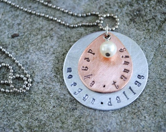 Tear Drop Metal Hand Stamped Necklace