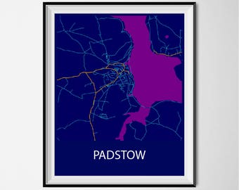 Padstow Map Poster Print - Night