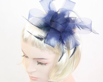 Navy Blue Fascinator Blue Fascinator Navy Feather fascinator headband Blue Hair accessory Kentucky Derby Hat Races Fascinator