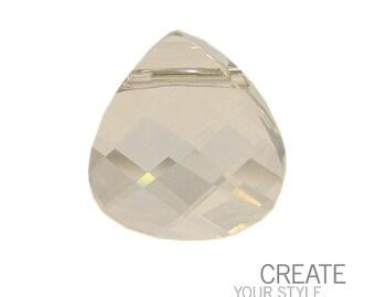 Small Swarovski 6012 Flat briolette in silver shade- 11x10mm - Swarovski pendant - clear crystal