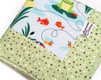 Turtles Frogs Baby Blanket, Flannel Blanket, security blanket, lovey blanket, nursing blanket, baby gift
