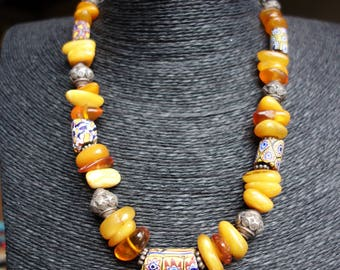 Baltic Amber, old African trade beads and silver bead ethnic necklace