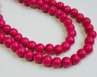 Hot Pink Fuchsia wood beads round 8mm full strand eco-friendly Cheesewood 9462NB