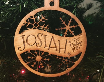 Josiah - Customizable Baby's First Christmas Ornament - Engraved Birch Wood Ornament