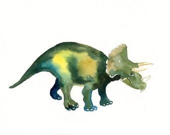 TRICERATOPS -10x8inch print--Art Print-animal Watercolor Print-nursery decor-children art-home decor-dinosaurus art
