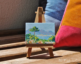 Painting on easel, open air, for nature lovers, original, hand painted, acrylic on canvas 5 x 7 cm