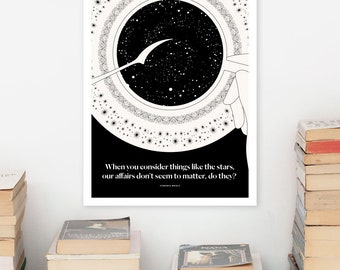 VIRGINIA WOOLF Literary Art Print, Night and Day Quote Print, Bookish Gift for Her, Bookworm Gift for Girlfriend, Women Writers