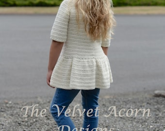 CROCHET PATTERN-The Script Pullover 2/3, 4/5, 6/7, 8/9, 10/11, 12/14, Small, Medium and Large sizes