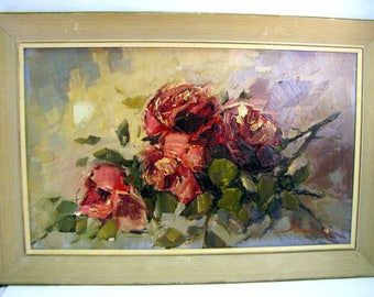"Mid Century MODERNIST ROSES PAINTING Oil on Board Sculptural Floral Signed 29.5"" x 19.5"""