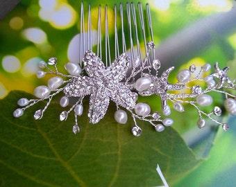 Starfish Hair Comb with Crystals Pearls, Bridal Headpiece, Pearl Hair Vine, Beach Wedding Hair Accessory for Destination Wedding