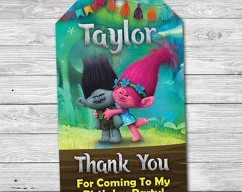 Trolls Birthday Tag, Trolls Thank You Tag, Trolls Poppy Tag, Trolls Branch Tag, Trolls Birthday Favor Tag, Personalized Digital Printable