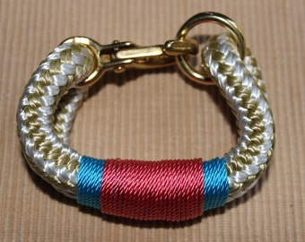 Customized Maine Rope Bracelet - Gold/White Rope - Salmon / Light Blue - Made to Order