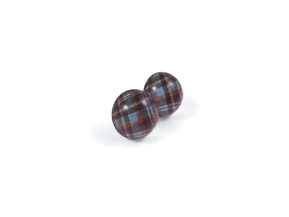Blue and purple plaid stud earrings - Titanium and glass