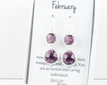 February Birthstone Silver Earrings, Long Amethyst Silver Earrings, February Amethyst Earrings, February Birthstone Jewelry