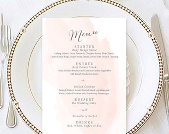 Menu Template, Wedding Menu Watercolor Menu Template, Blush Menu, Wedding Menu Digital Printable MI019