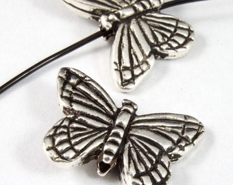 11.25mm x 15.75mm Antique Silver Tierracast Pewter Monarch Butterfly Bead #CKA080